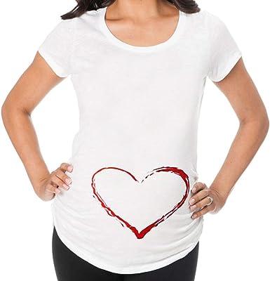 Mitlfuny Premamá T-Shirt a Capa Lactancia Busto Fruncido para Mujer Las Mujeres de Manga Corta Blusa de Maternidad Damas Impresas Embarazo Tops Camiseta Larga: Amazon.es: Ropa y accesorios