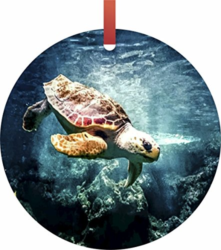Turtle in the Ocean Round - Shaped Flat Christmas Holiday Ornament Made in the U.S.A. by Lea Elliot Inc. - For Tortis Sale