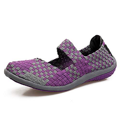 36 Zapatillas elásticas Deportivas tamaño Transpirables Color Ocasionales Púrpura Zapatillas Mujeres EU Qiusa Rojo qSnR4R