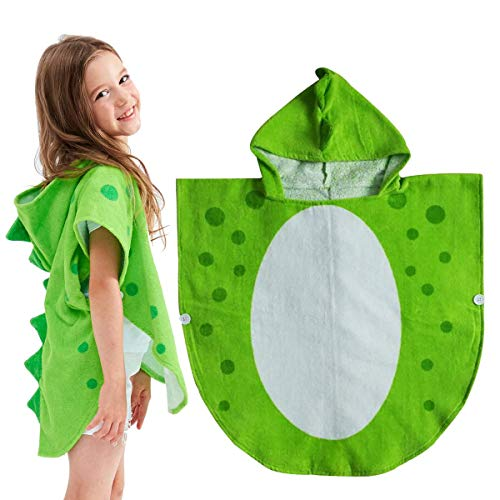 HOWADE Children Bath Towel Robe Kids Hooded Beach Swimming Poncho Pool Coverup Cape Dinosaur Pattern Extra Soft (Small)