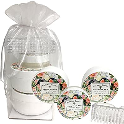 Hand Care Kit, Cruelty Free, Paraben Free, Hand Made In USA Hand Care Gift Set for Women, With Hand Salve for Dry,Cracked Hands, Nail, Cuticle Repair Balm and Hand Scrub. Hand Care Kit Women,Floral Ci