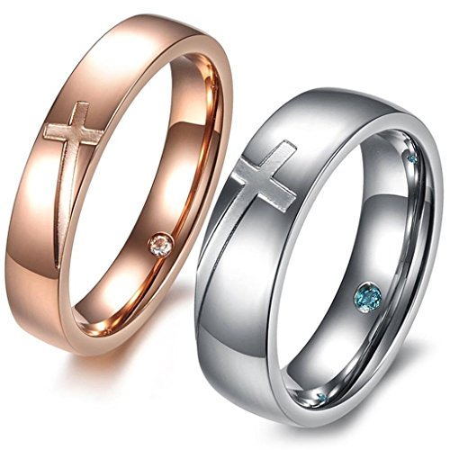Stainless Steel CZ Inlaid Cross Unisex's Wedding Ring Silver Gold Aooaz Jewelry (Cross Stainless Steel Wedding Bands)