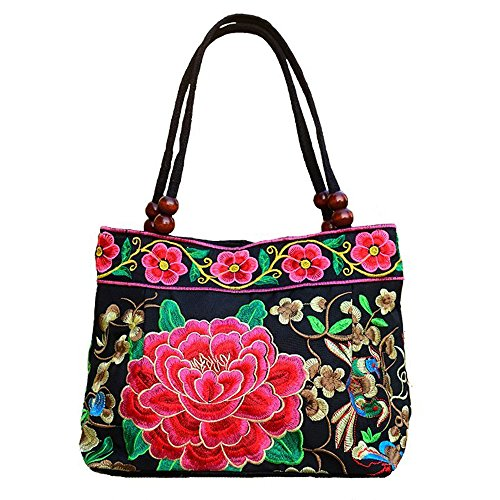 Vintage Embroidery Women Boho Mandala Messenger Bag Shoulder Bag (Red Peony)