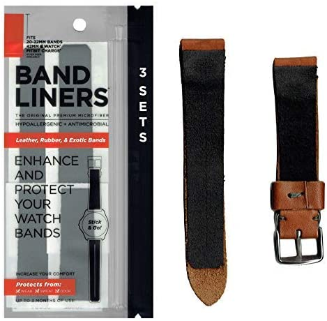 Bandliners (3 Sets Size: 20-22Mm) Hypoallergenic Watch Band Liners für Sensitive Skin & Odor Protection.