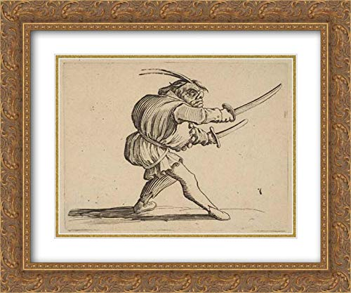 Jacques Callot - 24x20 Gold Ornate Frame and Double Matted Museum Art Print - The Duelliste aux Deux Sabres (The Duelist with Two Sabres), from Varie Figure Gobbi, Suite appelee Aussi Les Bossus, Le