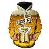 Men's Casual Beer Printed Hoodie Pullover Shirts Slim Fit Long Sleeve Lightweight T-Shirt Tops with Pockets