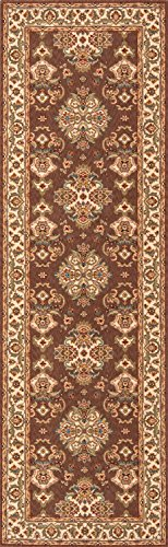 Momeni Rugs PERGAPG-01COO2680 Persian Garden Collection, 100% New Zealand Wool Traditional Area Rug, 2'6 x 8' Runner, Cocoa Cocoa Persian Garden