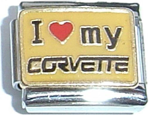 Corvette Gold Charm - I Love My Corvette Italian Charm