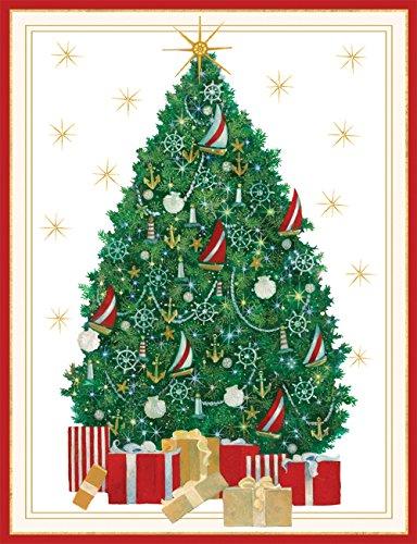 Caspari Nautical Tree Christmas Cards Box of 16