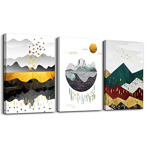 3 Pieces wall art for bedroom canvas prints artwork bathroom wall decor abstract sunrise and sunset scenery picture watercolor painting posters office living room Contemporary Pictures home decor art (Piece Art Abstract)