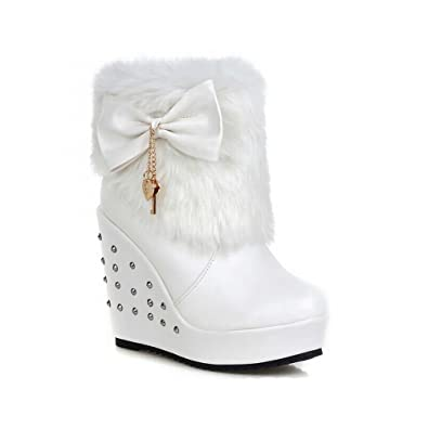 Women's Sweet Lolita Bows Faux Fur Christmas Cosplay Wedges Snow Boots