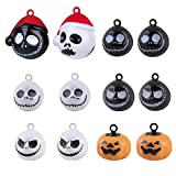 Zafina Jack Skellington Halloween Bells Nightmare Before Christmas Pumpkin Copper Bell Pet Collar Ghost Skull Bells Pet Puppy Kitten Cat Decorations Pendants