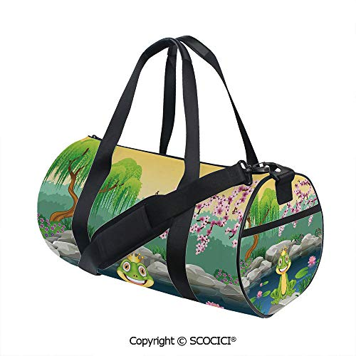 Nylon Ribbon Sports Backpack,Fairytale Inspired Cute Little Frog Prince near Lake on Moss Rock with Flowers ImageBarrel Bag for Women and Men,(17.6 x 9 x 9 in) Multicolor