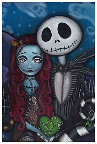 This is True Love by Abril Andrade Griffith Jack Skellington Sally Art Print (Jack Skellington And Sally)