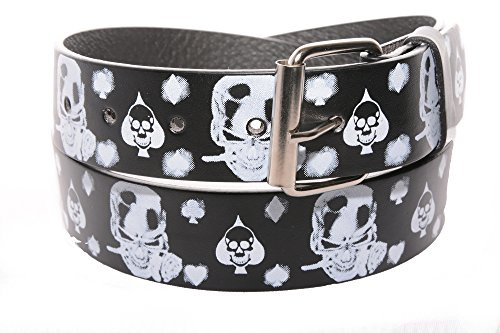 White Skull Belt Buckle (Men's Women's Leather Tattoo Print Belt White & Black Skulls and Crossbones with Removable Snap Silver Buckle Biker Skateboarding Punk Rock Snap On Buckle New Design (X-Large 42-44))
