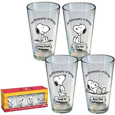 ICUP Peanuts Philosophy of Snoopy Pint Glass 4-Pack