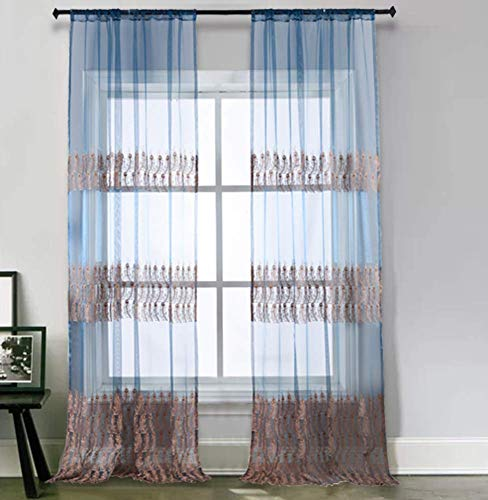 BW0057 Luxurious Sheer Curtain Exquisite Peacock Feathers Embroidered Window Rod Pocket Volie for Bedroom Living&Dining Room (1 Panel, W 50 x L 63 inch, Blue)-1300936C1BYABU15063-8503 (Cortina De Ba??o)