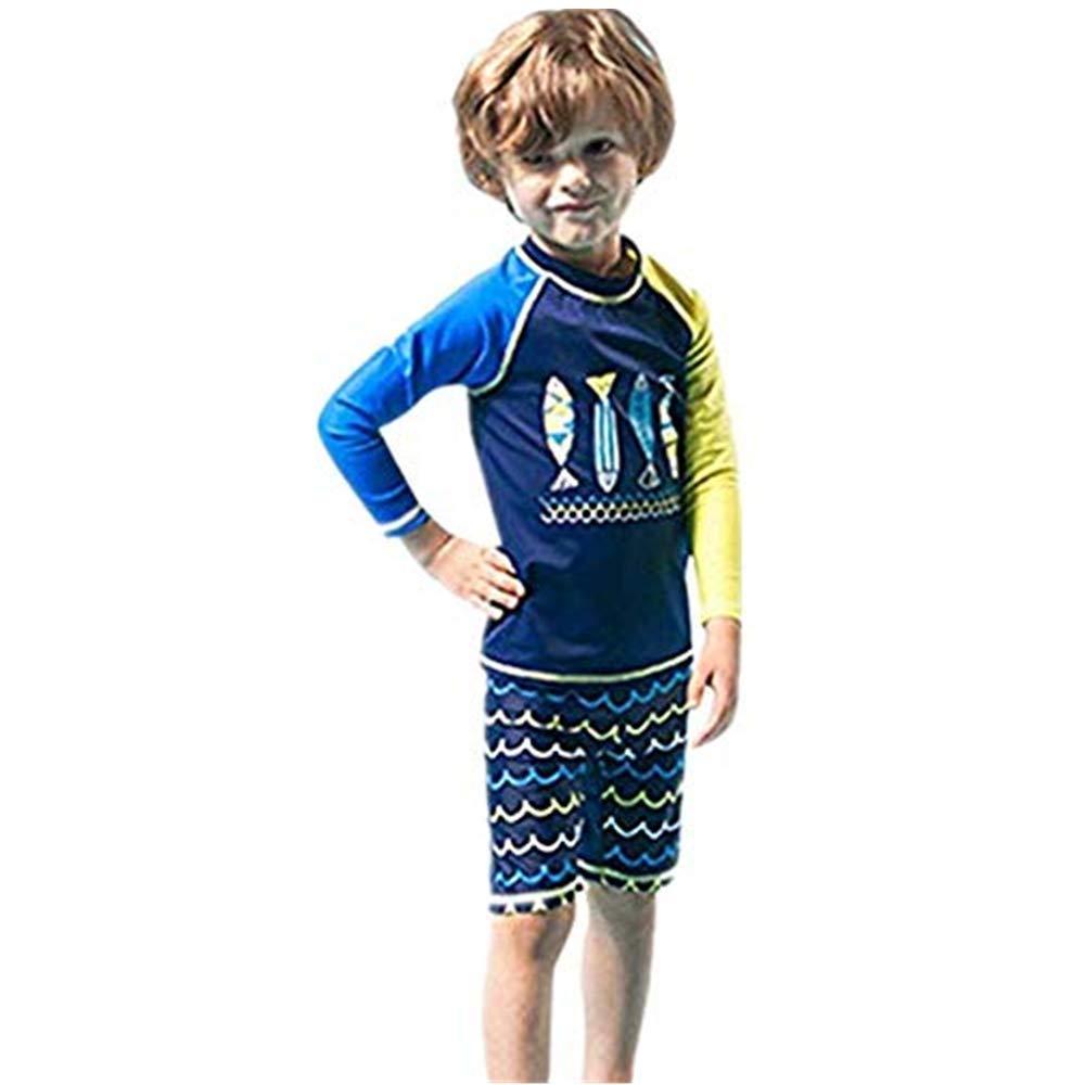 NUWFOR Children Kids Boys Girls Cartoon Fish Tops+Wave Shorts+Hat Sunsuit Swimwear Sets(Blue,4-5 Years
