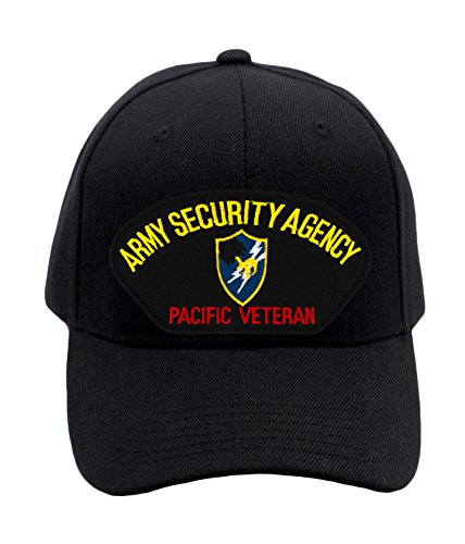 Patchtown Army Security Agency - Pacific Veteran Hat/Ballcap (Black) Adjustable One Size Fits Most - Pacific Military Hat