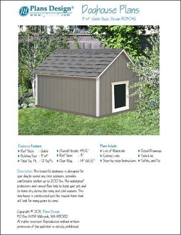 Large Dog House Project Plans Gable Roof Style Doghouse Pet Size Up To 150 Lbs Design 90304g