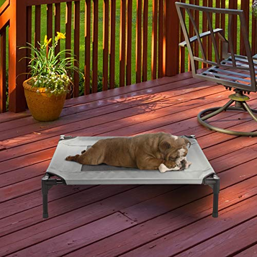 Petmaker Elevated Pet Bed-Portable Raised Cot-Style Bed W/ Non-Slip Feet, 30″x 24″x 7″ for Dogs, Cats, and Small Pets-Indoor/Outdoor Use (Gray)