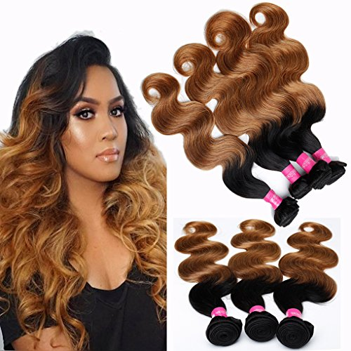 4 Bundles of Brazilian Ombre Human Hair Bundles Body Wave 20 22 24 26inch 2 Tone Ombre Color Virgin Hair Body Wave Weave Extensions 100g/Bundle Total 400g T1B/27 by B-Fashion