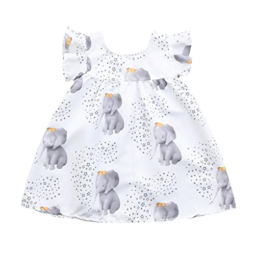 Moonker Baby Girls Dresses,Infant Toddler Girl Cute Stars Elephant Print Princess Dress Outfits Clothes 1-3 Years Old (White, 18-24 Months)