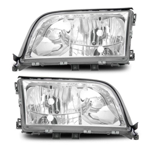 SPPC Crystal Headlights Assembly Set for Mercedes-Benz S Class W140 - (Pair) Includes Driver Left and Passenger Right Side Replacement Headlamp