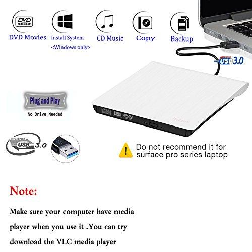 External USB 3.0 DVD Drive, Mougerk USB 3.0 Ultra Slim Portable CD DVD RW Reader Writer Burner Drive for Windows 10 Laptop Desktops Apple Mac Macbook Pro White by Mougerk (Image #2)