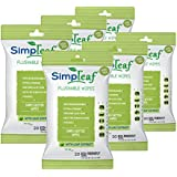 Simpleaf Flushable Wipes (Travel Pack): Eco- Friendly, Thick and Effective, Paraben and Alcohol Free, Hypoallergenic and Safe for Sensitive Skin, Vitamin E with Soothing Aloe Vera (6 Packs)