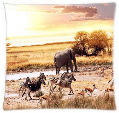 Alexander Wild Animals-Zebra Elephant Customized Sham Throw Pillow Cover Home Decorative Throw Pillowcase Square Zip Cover (Wild Animals Sham)