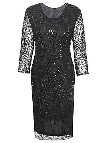 Vijiv Women 1920s Gatsby Beaded Sequin Long Sleeve Art Deco Flapper Cocktail Dresses Black (Speakeasy Roaring 20s)