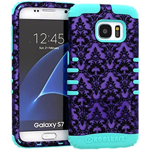 Galaxy S7 Case, Hybrid Heavy Duty Rugged Armor Kickstand Shock Proof Impact Resistant Grip Cover for Samsung Galaxy S7 (Purple Damask / B Teal) Sales