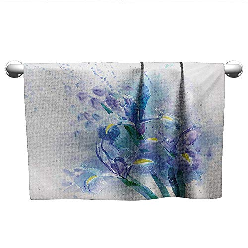 Watercolor Flower,Small Bath Towels Floral Background Pretty Irises in Fresh Colors Nature Earth Spirit Washcloths Lilac Teal Ecru W 10