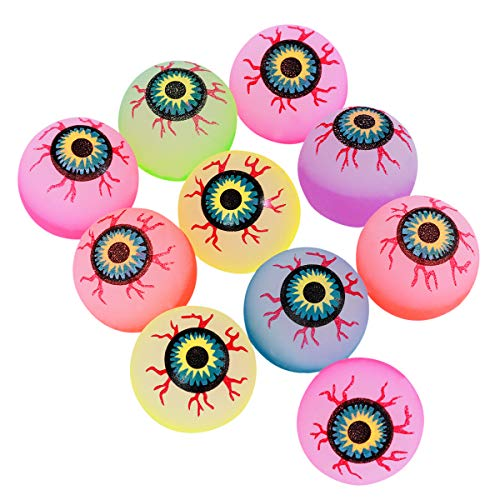 Toyvian Halloween Bouncy Balls Scary Eye Balls 32mm Glow in The Dark Halloween Party Supplies (Random Color) - 10 pcs -