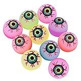 Toyvian Halloween Bouncy Balls Scary Eye Balls 32mm Glow in The Dark Halloween Party Supplies (Random Color) - 10 pcs