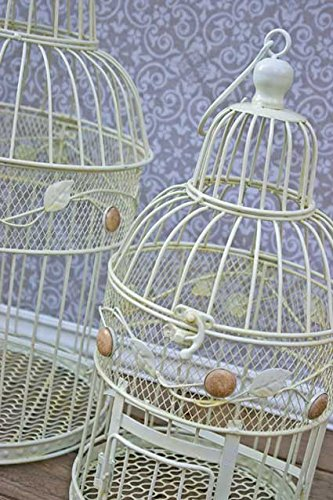 Vintage Bird Cage, Round, Shabby Chic, 14 in. and 18 in., White, Set of 2