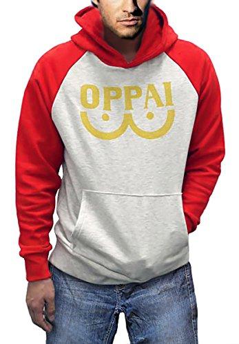 One Punch Unisex Hoodie Saitama Sweatshirt Hooded Jacket (Red, L)