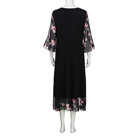 Bringbring Women Plus Size Midi Dresses V Neck Wrap Chiffon Floral Long Sleeve Prom Dress: Amazon.co.uk: Clothing
