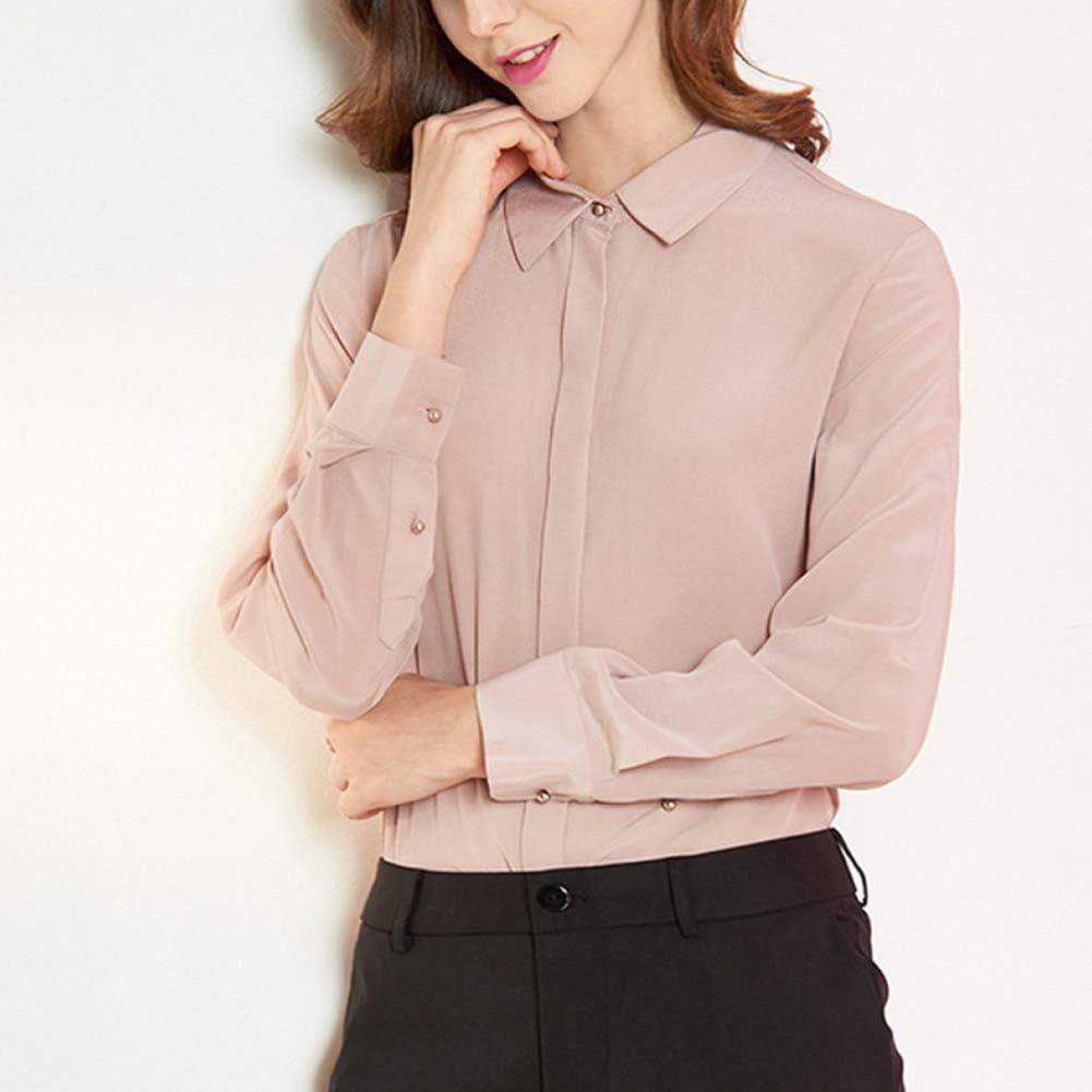 DISSA S7095 Women Silk Blouse Top Shirt Collar Long Sleeve Slim Shirt Silk Shirt Top Pink