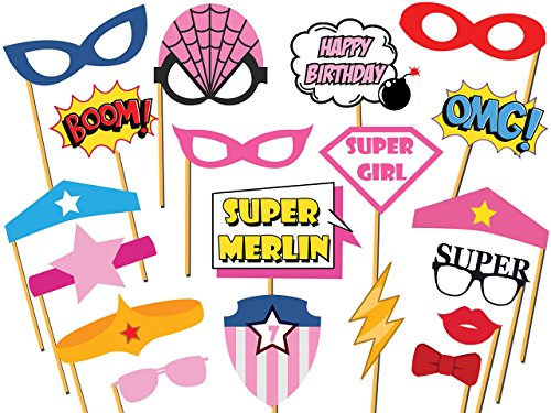 Custom Supergirl Photo booth props - Size 36x24, Personalized superhero party, Comic Book, Speech Bubbles,Superhero Birthday Props, Party Decorations, Handmade DIY Party Supply Photo Booth Props