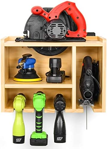 Power Tool Organizer, Drill Charging Station, Circular Saws Jig Saw Drill Impact Driver Wall Storage Holder Need Assemble
