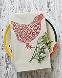 Cloth Napkins - Set of 4 - Chicken Design in Red - Organic Cotton
