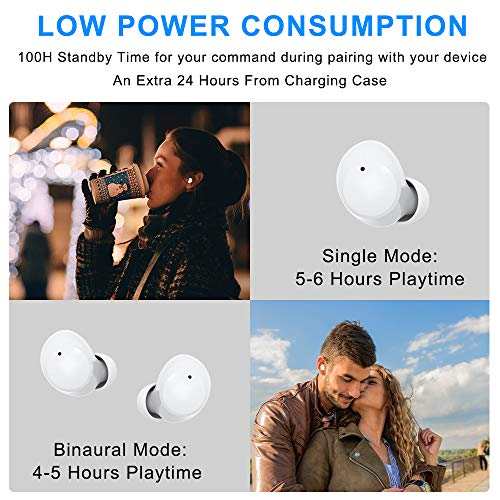 Wireless Earbuds,Bluetooth 5.0 with Microphone Sports Earphone TWS HD Stereo Deep Bass Touch Control Ear Buds in-Ear Headphone with mic IPX5 Waterproof Case for iPhone Android Samsung Sony(White)