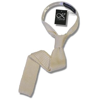 799867027da5 Knightsbridge Retro Mod 60's Slim Square End Plain Knitted Silk Tie ...