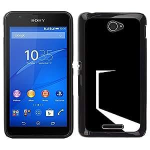 Caucho caso de Shell duro de la cubierta de accesorios de protección BY RAYDREAMMM - Sony Xperia E4 - Minimalista Negro Puerta