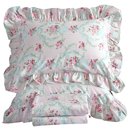Queen's House Shabby Red Roses Bedding Ruffle Duvet Cover and Shams-Queen,C