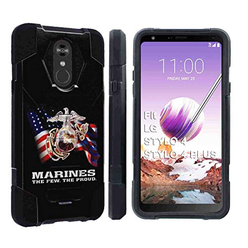 [SlickCandy] LG Stylo 4 / Stylo 4 Plus [Black] Advance Rugged Defender Armor Kickstand Case Feature Hybrid Shell Kickstand for LG Stylo 4LG Stylo 4 Plus [Marines The Few The Proud Print] (Marine 4 Corps Case Iphone)