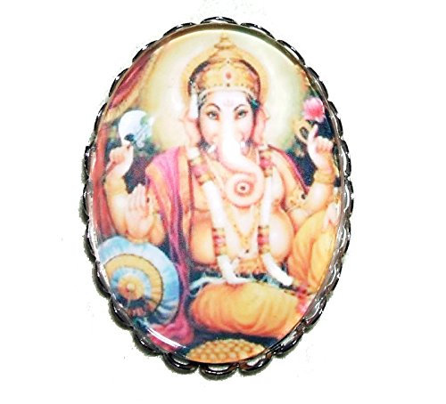 GANESHA BROOCH PIN Silver Pltd with GLASS Dome GOD OF NEW BEGINNINGS REMOVER OF OBSTACLES Ganesh
