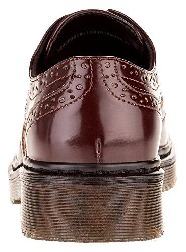 oodji Collection Mujer Zapatos Tipo Oxford de Piel Sintética Rojo (4900N)